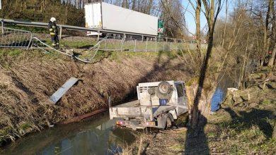 Photo of Tworkowa / Samochód wpadł do rzeki – zdjęcia / 2 marca 2020 r.