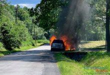 Photo of Jasień. Pożar samochodu osobowego na ul. Sądeckiej / 6 czerwca 2020 r.