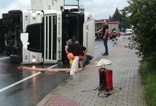 Photo of Wypadek samochodu ciężarowego w Tymowej / 2 czerwca 2020 r.