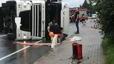Photo of Wypadek samochodu ciężarowego w Tymowej / 2 lipca 2020 r.